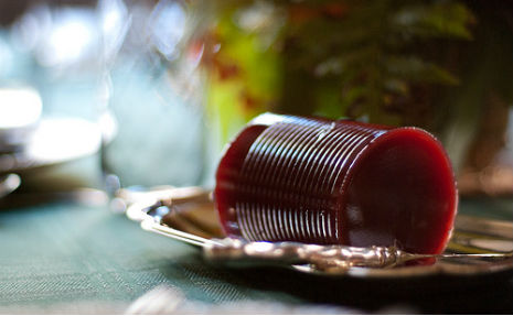 can-shaped cranberry sauce on silver dish