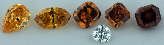 different shades of orange diamonds