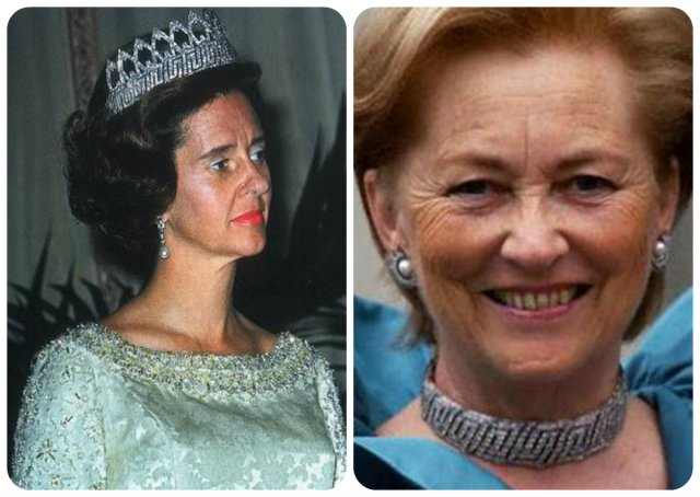 Fabiola wears the arches sans diamonds and (right) Paola wears it as choker