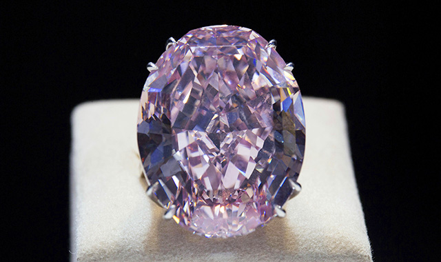 The Pink Star diamond is displayed during a press preview at Sotheby's in Hong Kong