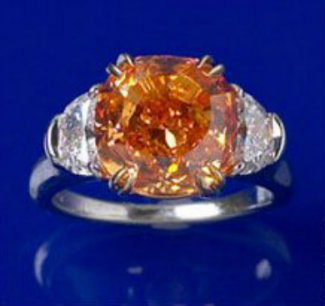 the Pumpkin Orange Diamond set into a ring