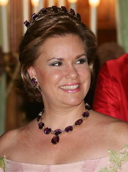 Grand Duchess Maria Teresa in the Amethyst Bandeau of Luxembourg