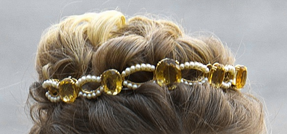 citrine and Pearl Bandeau tiara closeup