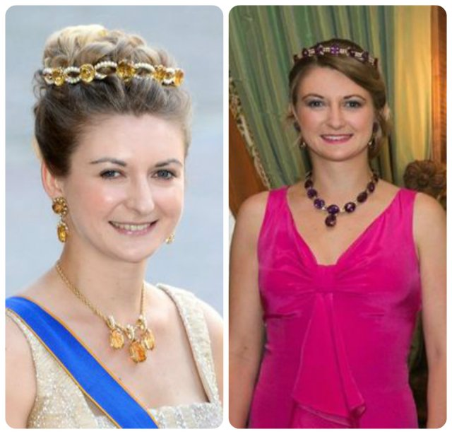 "stephanie of luxembourg in the ""amethyst and pearl"" and the ""citrine/topaz and pearl bandeau"""
