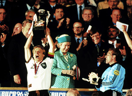 Queen Elizabeth presents the 1996 European Cup to Germany