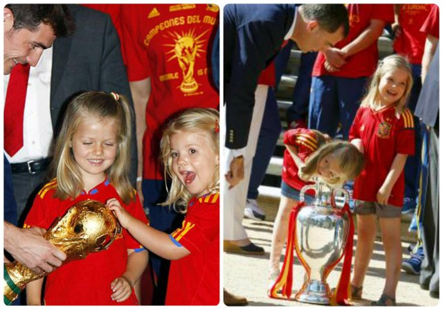 las infantas sofia y leonor with the world and european cups, respectively
