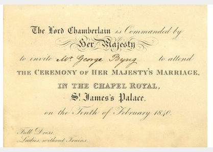queen victoria wedding invitation