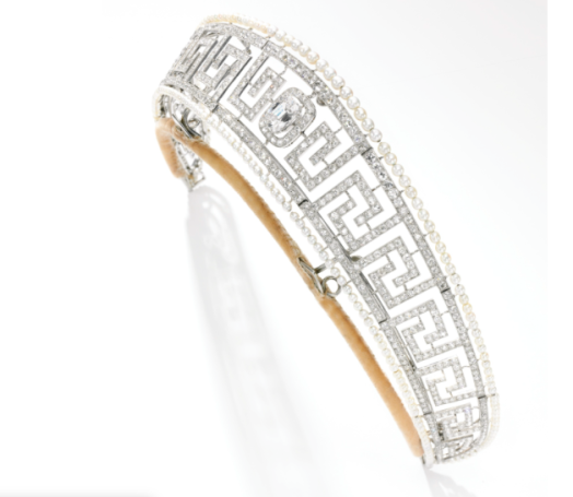 1909 Cartier Meander Tiara done in the Greek key style