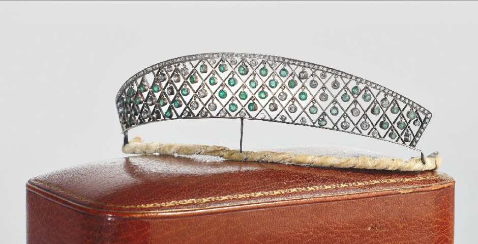 emerald and diamond Carrington tiara