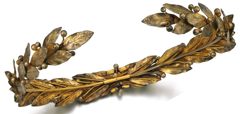 a gilt metal chaplet tiara in the form of bay leaves