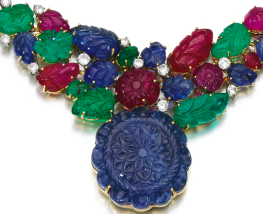 Sapphire, ruby and emerald necklace