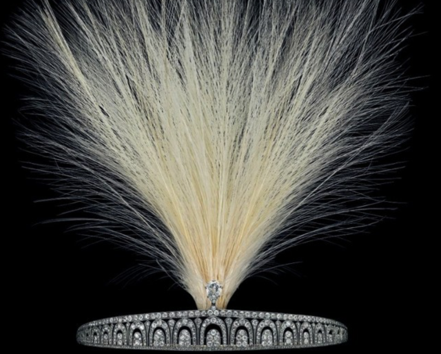 feathered cartier art deco tiara