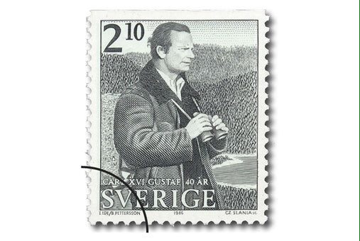 carl gustav of sweden 40th birthday stamp