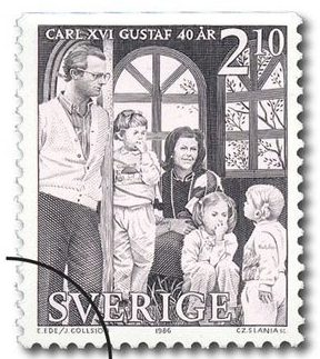 swedish royal family stamp 1986