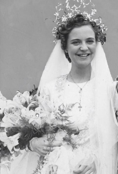 Geraldine on her wedding day dressed in traditional garb