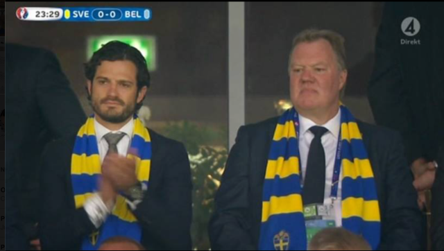 Prince Carl Phillip at Sweden v Belgium 2016